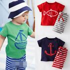 Baby Kids Boy Summer Marine Fish Beach Color Top+Pants Casual Outfit Clothes Set