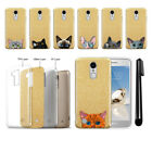 For LG Aristo MS210 LV3 K8 (2017) Cat Design Sparkling Gold TPU Case Cover + Pen