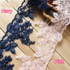 """5 yard 13cm 5.11"""" ivory/pink bridal wedding embroidery tapes lace trim 30149"""
