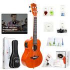 Electric Acoustic Ukulele Solid Mahogany Concert Beginner Kit Free Online Lesson