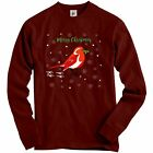 Red Crested Robin In Snow Holding Holly Berries Adult Christmas Sweatshirt