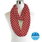 Infinity Loop Scarf Christmas Red & White Snowflake Lightweight Snood Cowl Gift