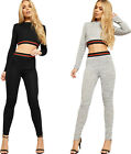 Womens Striped Long Sleeve Knitted Crop Top Leggings Tracksuit Ladies Loungewear