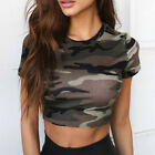 Summer Women Short Sleeve Round Neck Camouflage Crop Tops Slim Midriff Blouses