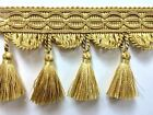 "4"" Fancy Hand Made French Tassel Fringe Trim    TF-9/11-12   Gold Mix"
