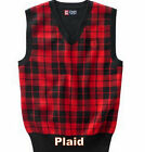 Chaps Boys Sweater Vest 4 6 7 Red Black Plaid Holiday Christmas