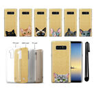 "For Samsung Galaxy Note 8 N950 6.3"" Cat Design Sparkling Gold Case Cover + PEN"