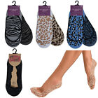 2,3 Pack Womens Lace Liners Socks Ladies Cotton Animal Print Invisible Footwear