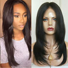 Brazilian Virgin Human Hair Full Lace Front Layered Straight Wigs With Baby Hair