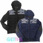 Mens Hooded Aztec Design Jacket Mens Black Navy Padded Winter Hood Zip Up Jacket