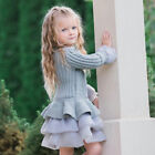 Kids Girls Knitted Sweater Winter Pullover Crochet Tutu Dress Tops Clothes 2T-7T