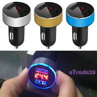 Universal Dual Ports USB Car Charger LED Display Voltage Current Tablet Mobile