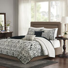 Deluxe Soft Embroidery Black Paisley Quilts Bedspread Coverlet Set Queen King image