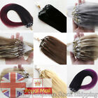 """UK Stock Loop Micro Ring Beads Tip Remy Human Hair Extensions 0.5g/s 18""""-26"""" 7A"""