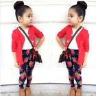 1Set Kids Toddler Girls Long Sleeve T-Shirt Tops+Red Coat+Pants Clothes Outfits