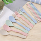 Hot Wheat Straw Chopsticks Fork Spoon Kids Adult Cutlery Portable Dinnerware