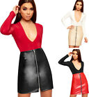 Womens Faux Leather Wet Look Exposed Zip Ladies Bodycon High Waist Mini Skirt