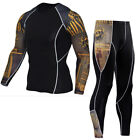 Men Compression Set Base Layer Gym Outfit Fitness Crossfit Mma Rash Guard Tights