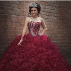 Burgundy Ball Gown Quinceanera Dresses Strapless Prom Pageant Dress Formal Gown