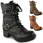Womens Ladies Chunky Biker Punk Military Combat Worker Lace Up Ankle Boots Size