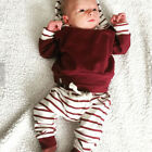 2pcs Toddler Infant Baby Boy Clothes Set Striped Hoodie Tops+Pants Outfits Suit