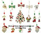 Christmas Tree Charm Baubles Bell Snowman Father Xmas Stocking Hangings Brooch