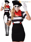Adults Mime Artist Costume Mens Ladies French Street Circus Fancy Dress Outfit