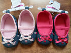 New Baby Girls Denim Hearts and Bow Soft Pram Shoes 6-9/9-12/12-15 months
