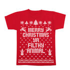 Merry Christmas Ya Filthy Animal Ugly Sweater Contest Retro Red Youth T-Shirt