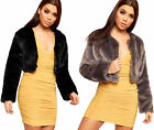 Womens Faux Fur Long Sleeve Cropped Open Collarless Cape Top New Ladies Jacket