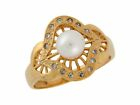 10k or 14k Yellow Gold Cultured Pearl and White CZ Elegant Fashion Ladies Ring