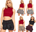 Womens Tartan Check Frill Pleated Hot Pants Shorts Skirt Ladies Mini Skort 6-14