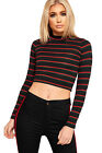 Womens Contrast Racer Striped Print Stretch T-Shirt Ladies Long Sleeve Crop Top