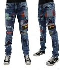 Peviani Mens Ripped Patch Star Manor Denim Jeans G Money Time Is Hip Hop Boys