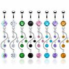 Belly Bar with Vine CZ Crystal Gem Dangle Surgical Steel Body Piercing