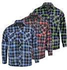 Mens Quilted Padded Shirt Lumberjack Flannel Work Jacket Check Warm M-XXL