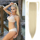 "15"" Straight Drawstring Ponytail Clip In Human Hair Extension Blonde & Black 80g"