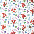 The Snowman & Santa, Christmas 100% Cotton Fabric per Half Metre or Fat Quarter