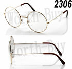 Mens Womens Fashion Round Retro Metal Frame Clear Lens Eye Glasses Large Circle