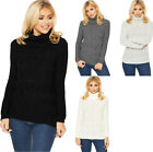 Womens Polo Cable Knit Jumper Top Ladies Cowl Neck Long Sleeve Plain New 8-14