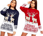 Womens Long Sleeve Round Neck  Merry Reindeer Xmas Ladies Christmas Jumper Dress