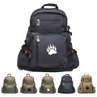 Grizzly Bear Paw Print Army Sport Heavyweight Canvas Backpack Bag