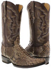 Mens Brown Genuine Python Snake Rodeo Riding Western Cowboy Boots Cobra Rattle
