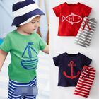 Boy Kid Toddler Summer Marine Fish Beach Color Top+Pants Outfit Clothes Set 2-5