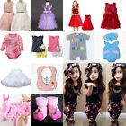Baby Toddler Kids Girl Wedding Dress Party Casual Cute Clothes Romper Outfit Set