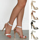 WOMENS LADIES HIGH HEEL STRAPPY DIAMANTE BARELY THERE SANDALS EVENING SHOES SIZE