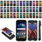 For ZTE Grand X 3 X3 Z959 Warp 7 N9519 Brushed Hybrid Protector Cover Case + Pen