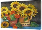 YELLOW MIX  FLOWERS  DRAWN CHARCOAL SOFT PASTEL PRINT ON FRAMED CANVAS
