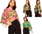 Womens Baroque Print Long Flared Sleeve Keyhole Ladies Open Back Tied Crop Top