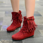 New Womens Faux Suede Fringe Tassel Moccasin Shoes Lace up Ankle Boots US 4-10.5